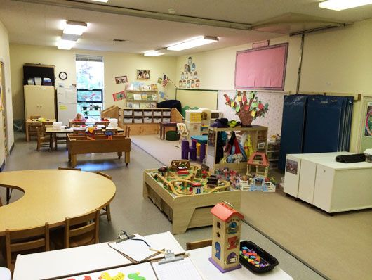 Older preschool classroom with a variety of centers and activities including a train table, an art center and a dollhouse.
