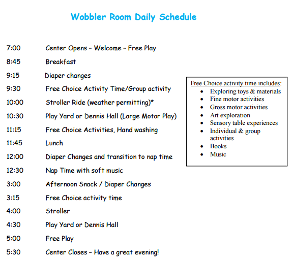 Wobbler room daily schedule