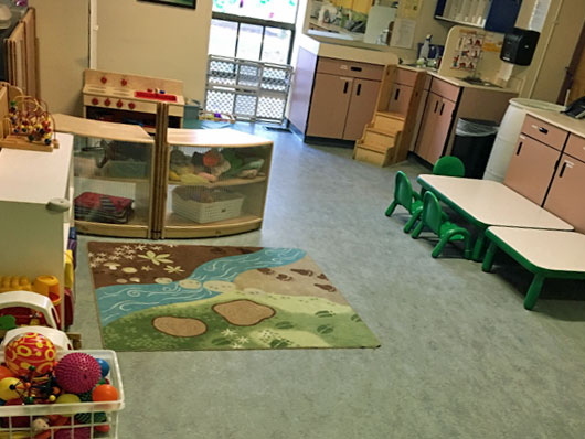 Picture of a dramatic play area in a classroom with no children